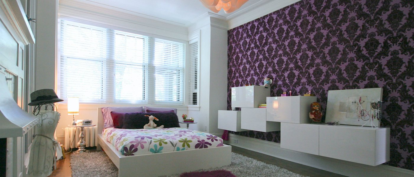 Stylish purple wallpaper bedroom for Purple living room wallpaper